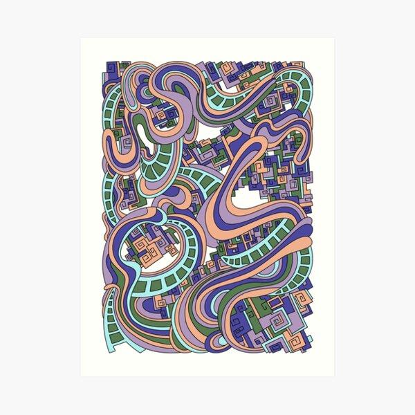 Wandering Abstract Line Art 45: Purple Art Print