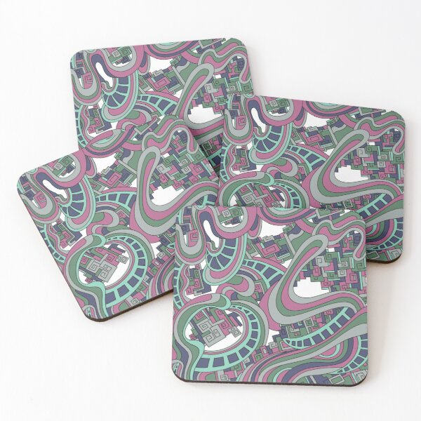 Wandering Abstract Line Art 45: Pink Coasters (Set of 4)