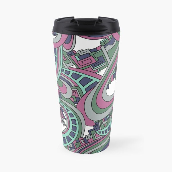 Wandering Abstract Line Art 45: Pink Travel Mug