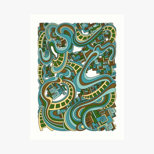 Wandering Abstract Line Art 45: Blue Art Print