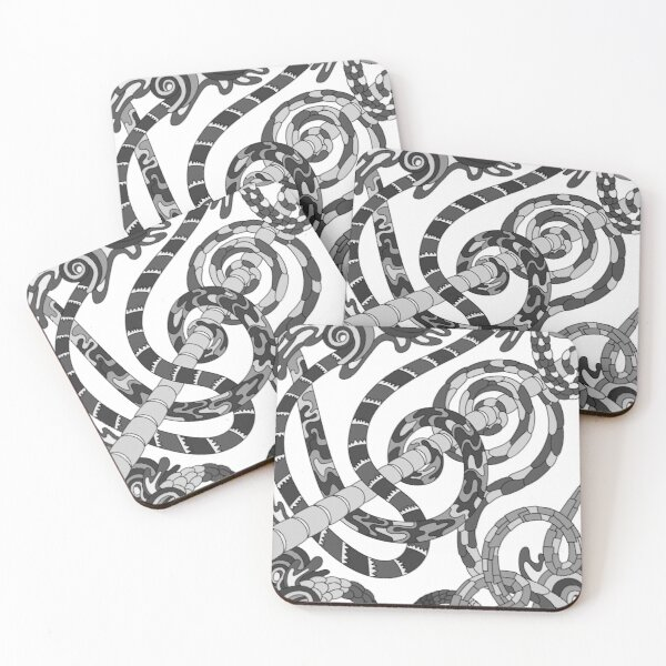 Wandering Abstract Line Art 46: Grayscale Coasters (Set of 4)