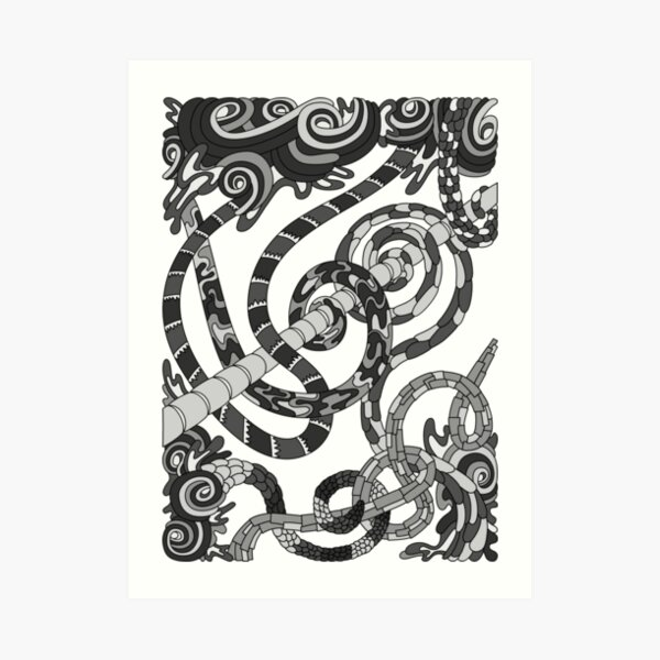 Wandering Abstract Line Art 46: Grayscale Art Print