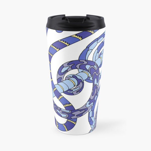 Wandering Abstract Line Art 46: Blue Travel Mug
