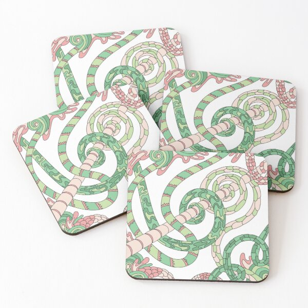 Wandering Abstract Line Art 46: Green Coasters (Set of 4)