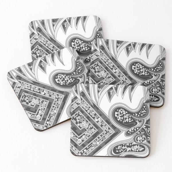 Wandering Abstract Line Art 47: Grayscale Coasters (Set of 4)