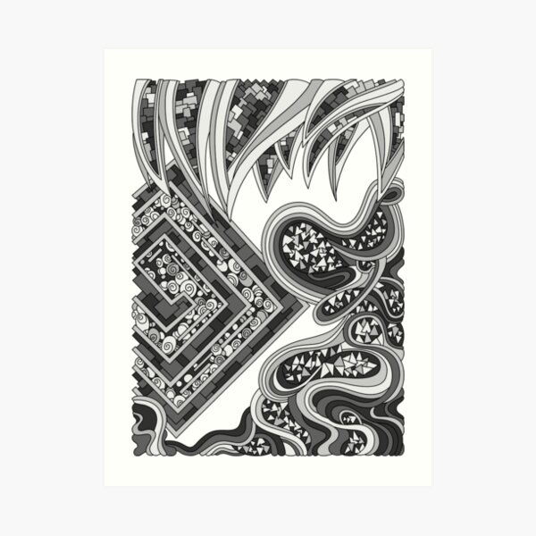 Wandering Abstract Line Art 47: Grayscale Art Print