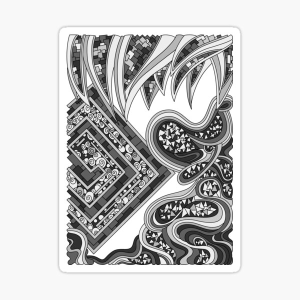 Wandering Abstract Line Art 47: Grayscale Sticker