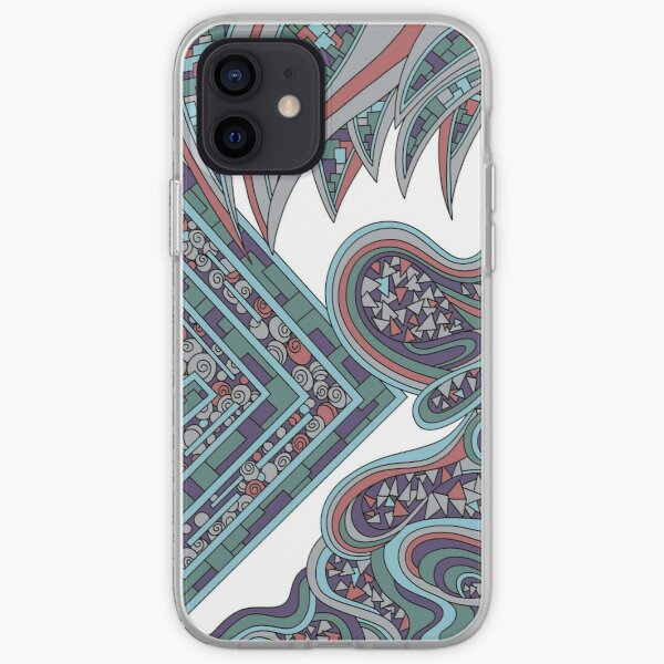 Wandering Abstract Line Art 47: Blue iPhone Soft Case