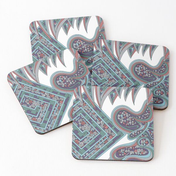 Wandering Abstract Line Art 47: Blue Coasters (Set of 4)