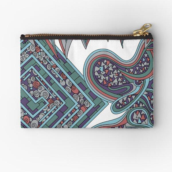 Wandering Abstract Line Art 47: Blue Zipper Pouch