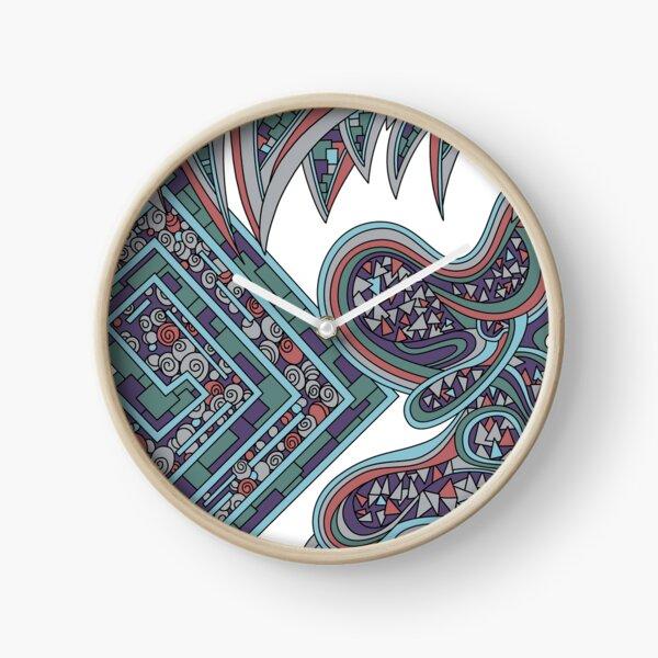 Wandering Abstract Line Art 47: Blue Clock