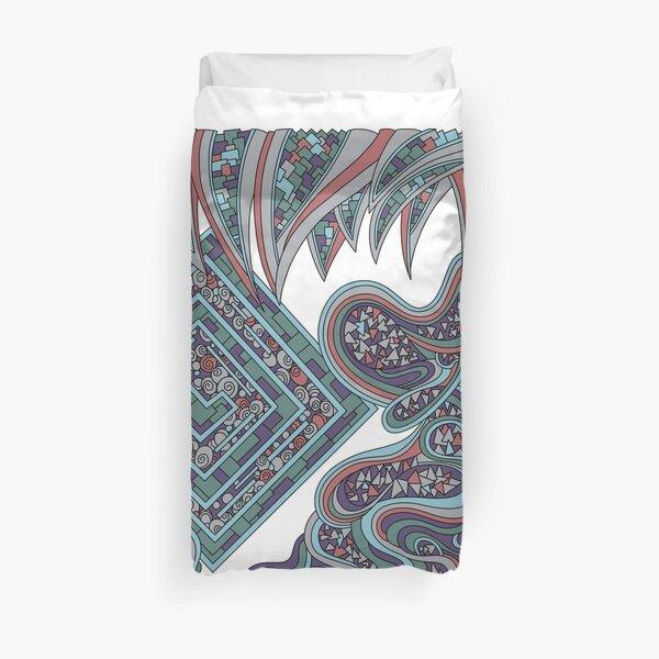 Wandering Abstract Line Art 47: Blue Duvet Cover