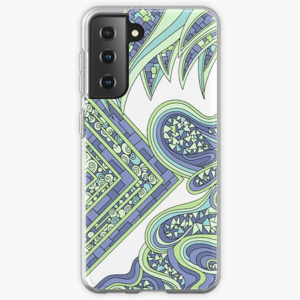 Wandering Abstract Line Art 47: Green Samsung Galaxy Soft Case