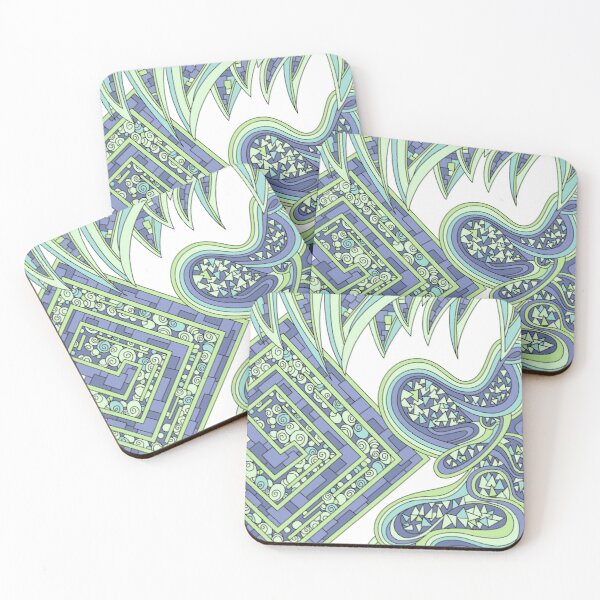Wandering Abstract Line Art 47: Green Coasters (Set of 4)