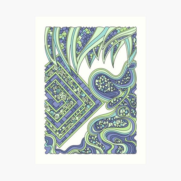 Wandering Abstract Line Art 47: Green Art Print