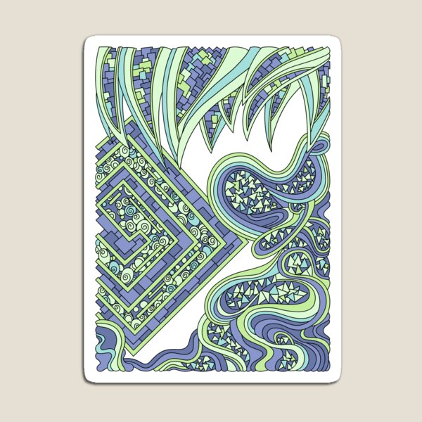 Wandering Abstract Line Art 47: Green Magnet