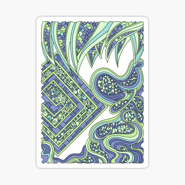 Wandering Abstract Line Art 47: Green Sticker