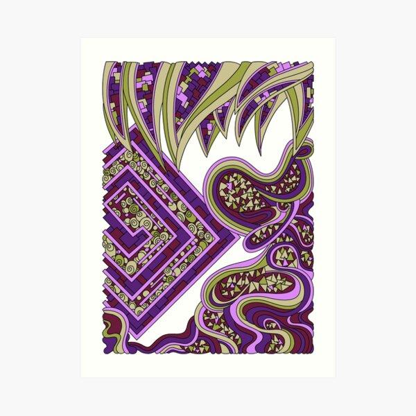 Wandering Abstract Line Art 47: Purple Art Print