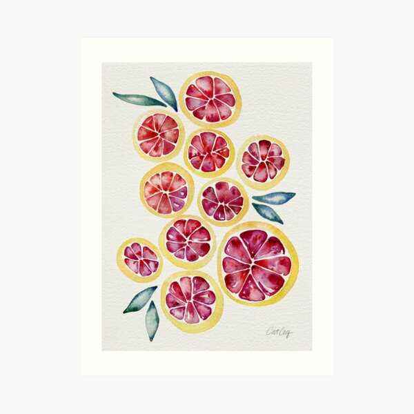 Sliced Grapefruits Watercolor Art Print