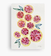 Sliced Grapefruits Watercolor Metal Print