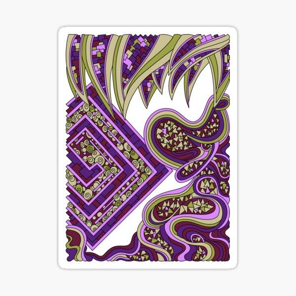 Wandering Abstract Line Art 47: Purple Sticker