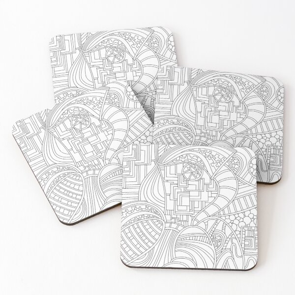 Wandering Abstract Line Art 48: Black & White Coasters (Set of 4)