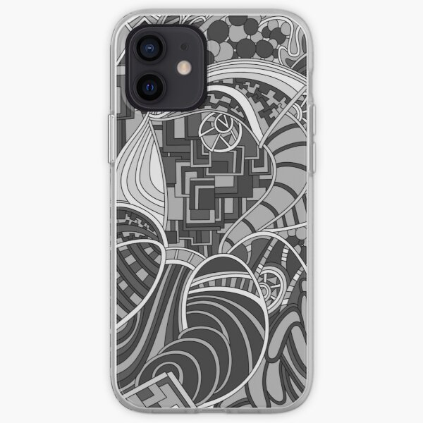 Wandering Abstract Line Art 48: Grayscale iPhone Soft Case