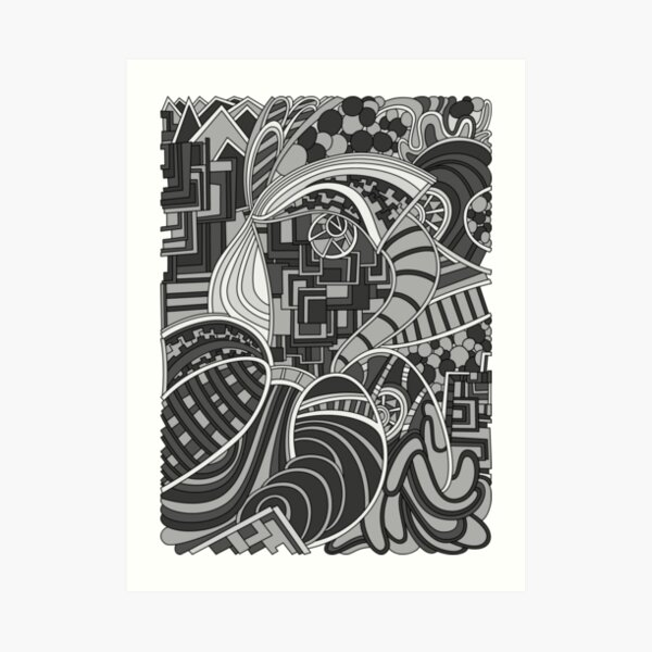 Wandering Abstract Line Art 48: Grayscale Art Print