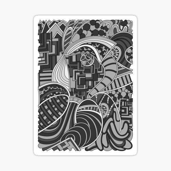 Wandering Abstract Line Art 48: Grayscale Sticker