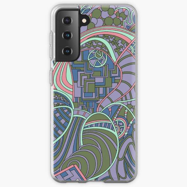 Wandering Abstract Line Art 48: Green Samsung Galaxy Soft Case