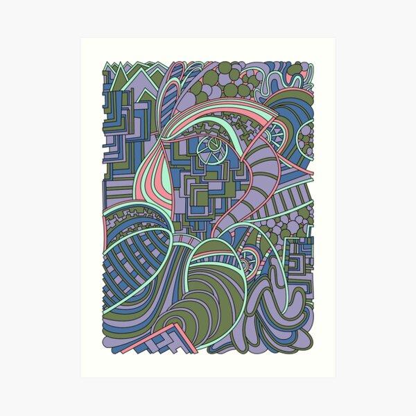 Wandering Abstract Line Art 48: Green Art Print