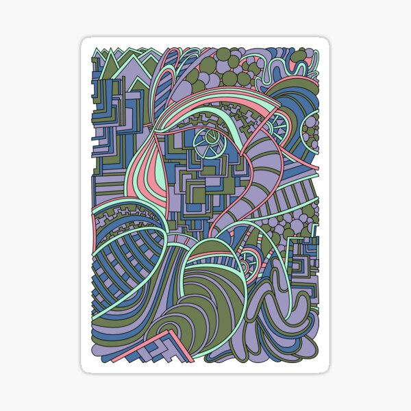 Wandering Abstract Line Art 48: Green Sticker