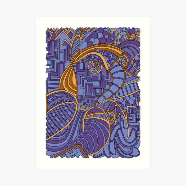 Wandering Abstract Line Art 48: Purple Art Print
