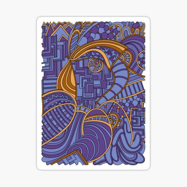 Wandering Abstract Line Art 48: Purple Sticker