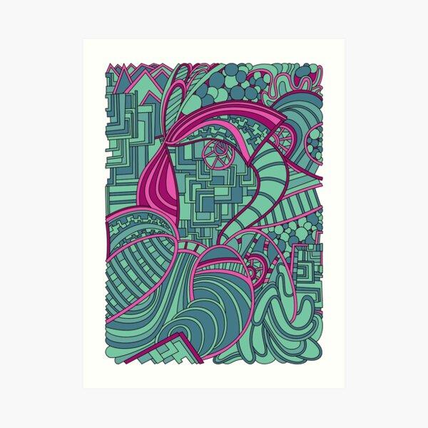 Wandering Abstract Line Art 48: Magenta Art Print