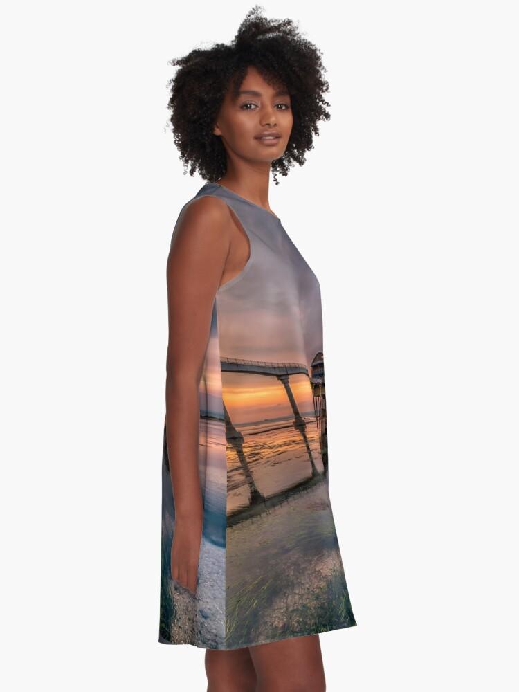 Alternate view of Bembridge Lifeboat Station Sunset A-Line Dress
