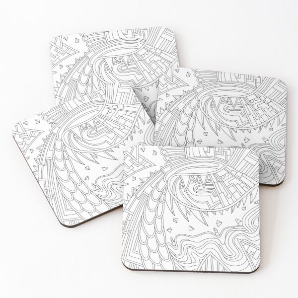 Wandering Abstract Line Art 49: Black & White Coasters (Set of 4)