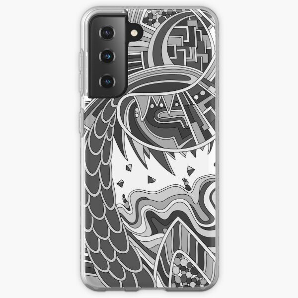 Wandering Abstract Line Art 49: Grayscale Samsung Galaxy Soft Case