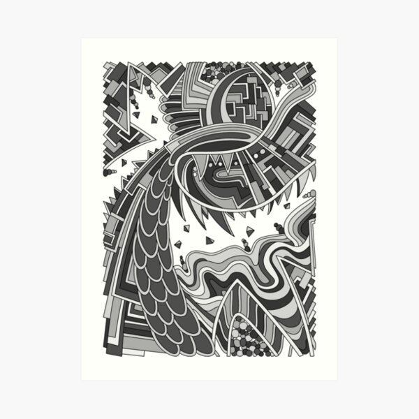 Wandering Abstract Line Art 49: Grayscale Art Print