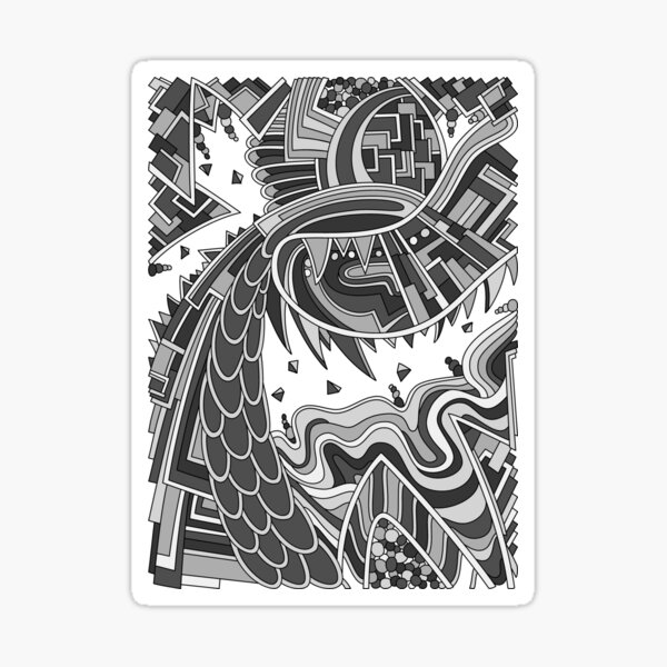 Wandering Abstract Line Art 49: Grayscale Sticker