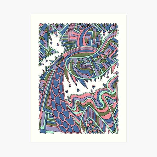 Wandering Abstract Line Art 49: Coral Art Print