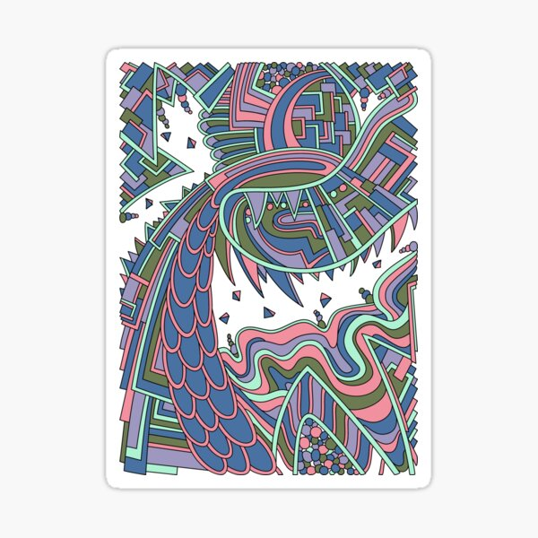 Wandering Abstract Line Art 49: Coral Sticker