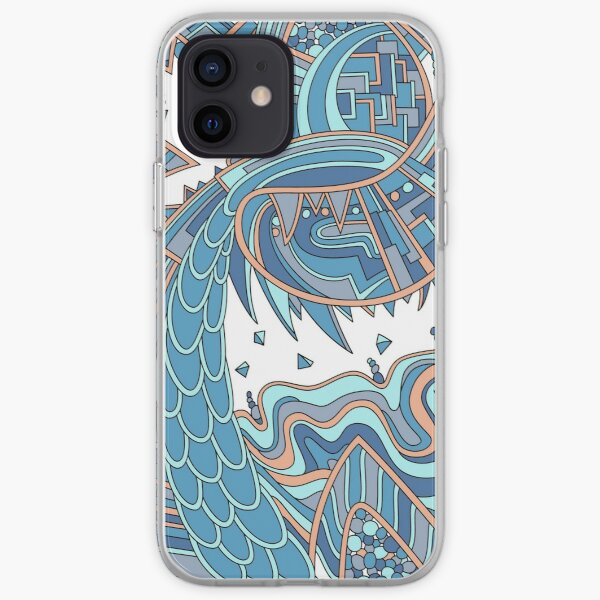 Wandering Abstract Line Art 49: Blue iPhone Soft Case