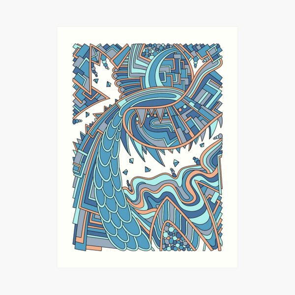 Wandering Abstract Line Art 49: Blue Art Print