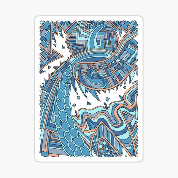 Wandering Abstract Line Art 49: Blue Sticker