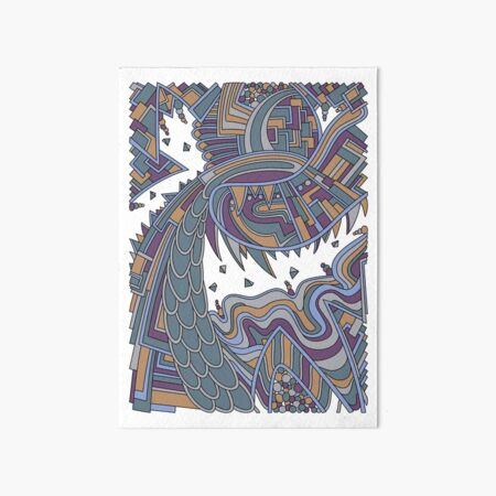 Wandering Abstract Line Art 49: Gold Art Board Print