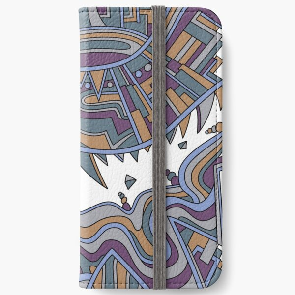 Wandering Abstract Line Art 49: Gold iPhone Wallet