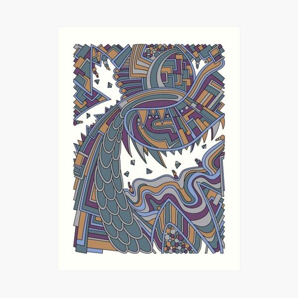 Wandering Abstract Line Art 49: Gold Art Print
