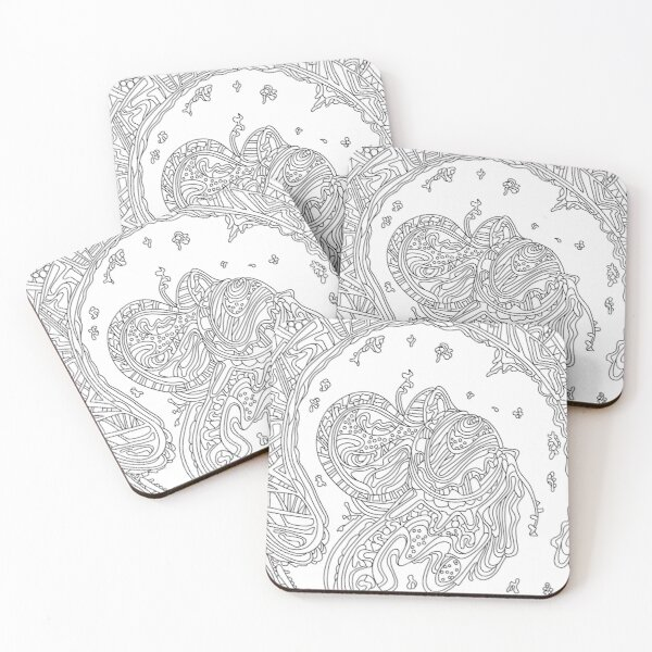 Wandering Abstract Line Art 50: Black & White Coasters (Set of 4)