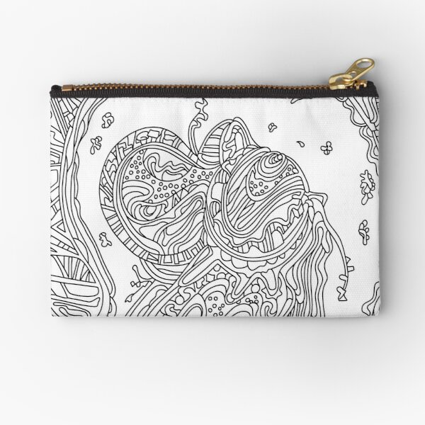 Wandering Abstract Line Art 50: Black & White Zipper Pouch